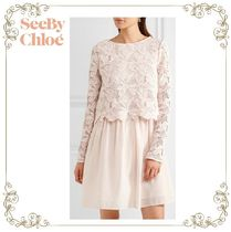 17SS★SEE BY CHLOE★Guipure lace & cotton mini dress
