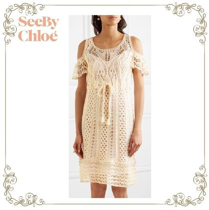 17SS★SEE BY CHLOE★Cold-shoulder lace cotton dress
