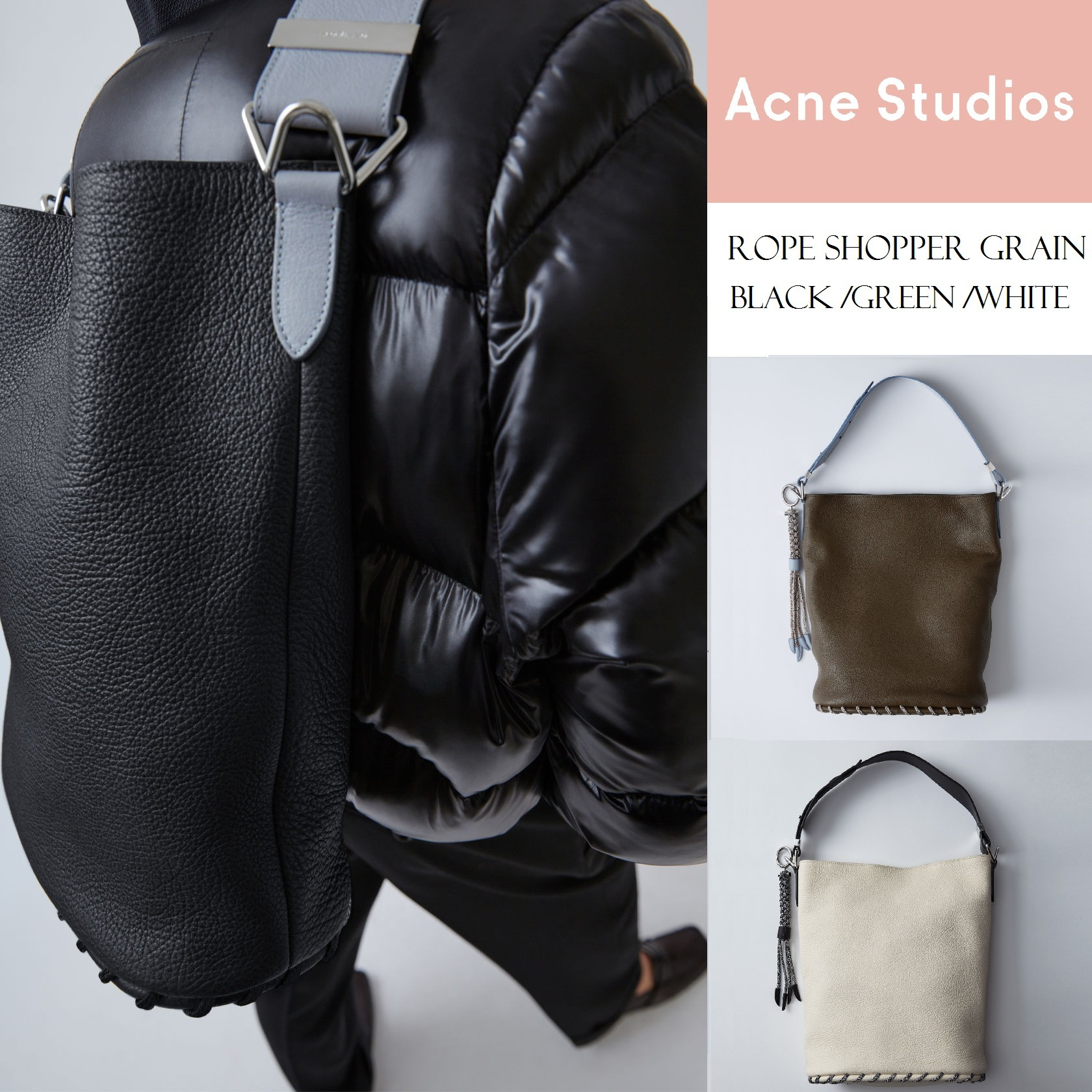[Acne] Rope leather laptop bag ラップトップ用レザーバッグ3色