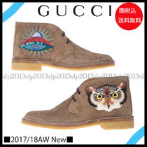 GUCCI(グッチ) ブーツ 18AW New■GUCCI■アップリケ付きスエードブーツTaupe☆関税込