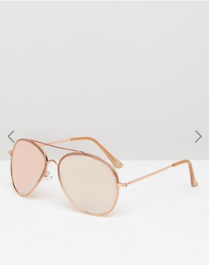 ASOS Oversized Aviator Sunglasses In Rose Gold