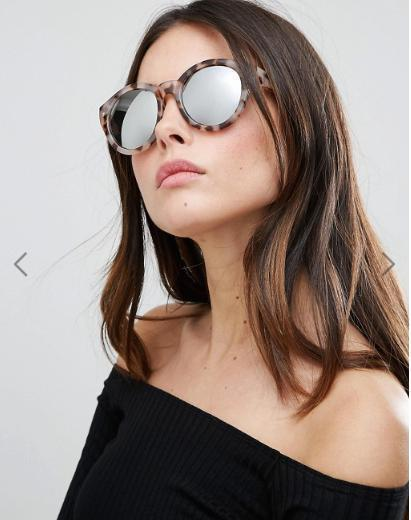 ASOS Chunky Round Sunglasses In Tort With Flash Lens