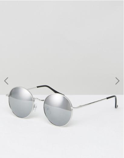 ASOS Small 90s Metal Round Sunglasses With Silver Mirrored