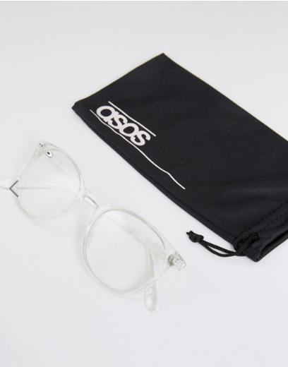 ASOS Geeky Clear Lens Clear Frame Glasses