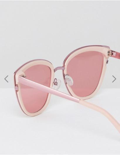 ASOS Cat Eye Sunglasses with Metal Sandwich & Pink Coloured