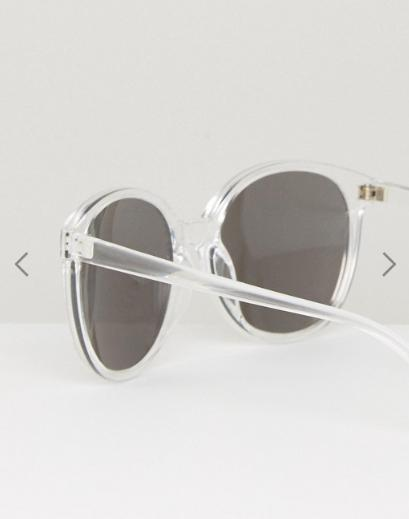 ASOS Round Sunglasses In Clear With Silver Mirror Lens