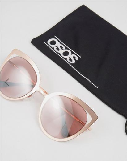 ASOS Rose Gold Cut Away Cat Eye Metal Sunglasses