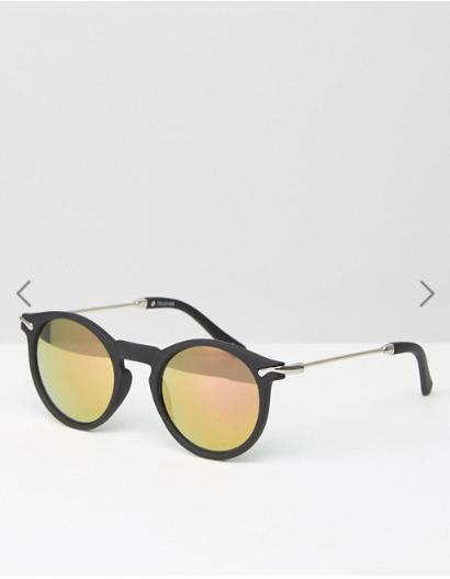 ASOS Round Sunglasses With Metal Arms & Rose Gold Flash Lens