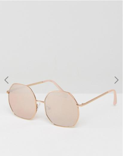 ASOS Metal Hexagon Sunglasses In Rose Gold