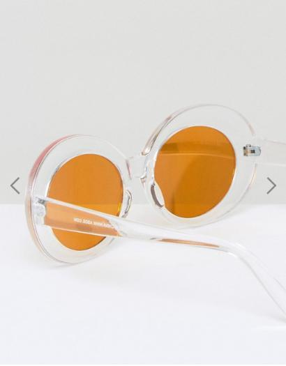 ASOS Oval Sunglasses With Clear Frame and Flash Lens