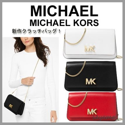 Michael Kors large leather clutch bag chain