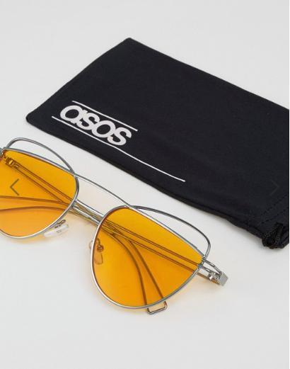 ASOS Cat Eye Sunglasses With Wire Highbrow