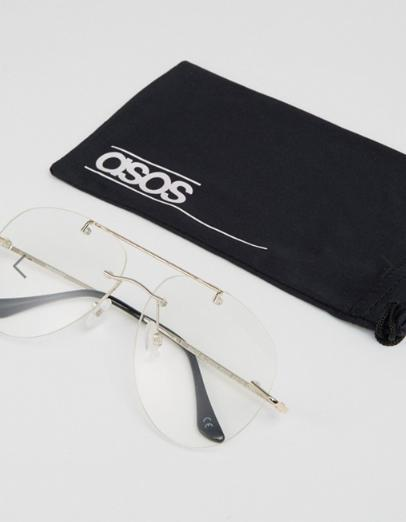 ASOS Geeky Clear Lens Rimless Aviator Glasses