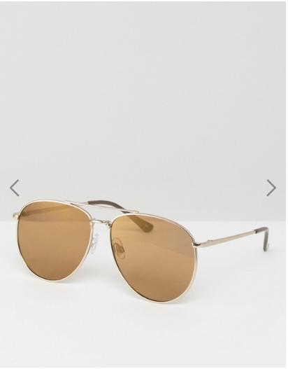 ASOS Metal Aviator Sunglasses In Matt Gold & Gold Flash lens