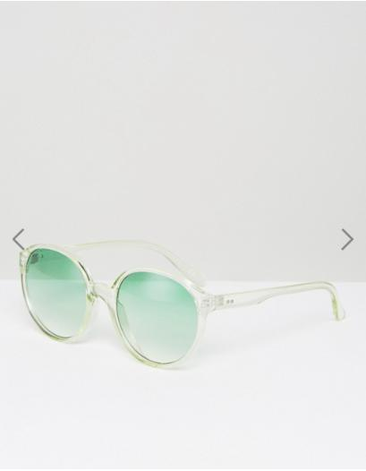 ASOS Round Sunglasses In Pale Green Coloured Lens