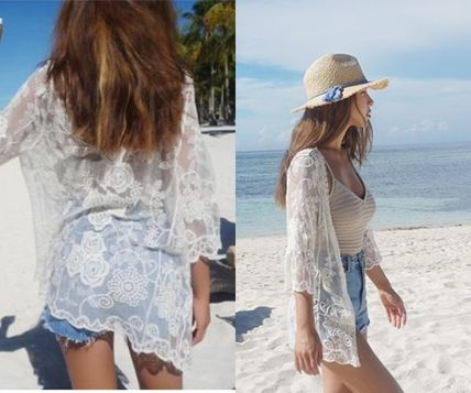 Cute adult sense of sheer lace embroidered cardigan Beach