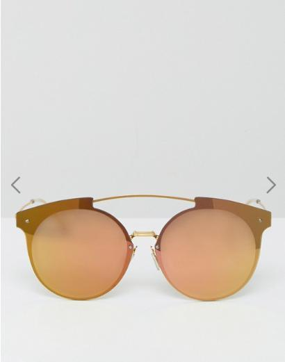 ASOS Round High Bar Sunglasses With Laid On Rose Gold Lens