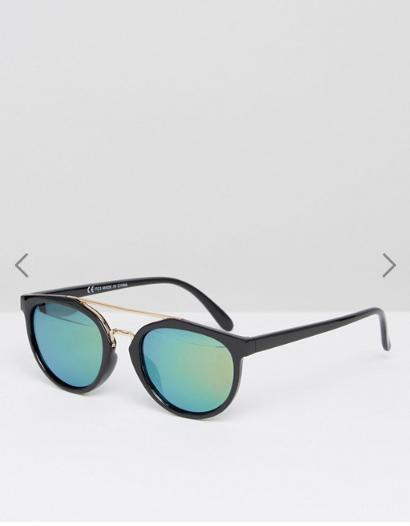 ASOS Round Polarised Lens Sunglasses With High Bar and Flash