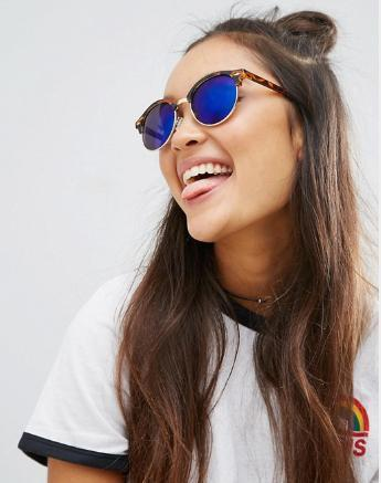 ASOS Round Polarised Lens Sunglasses With Flash Lens