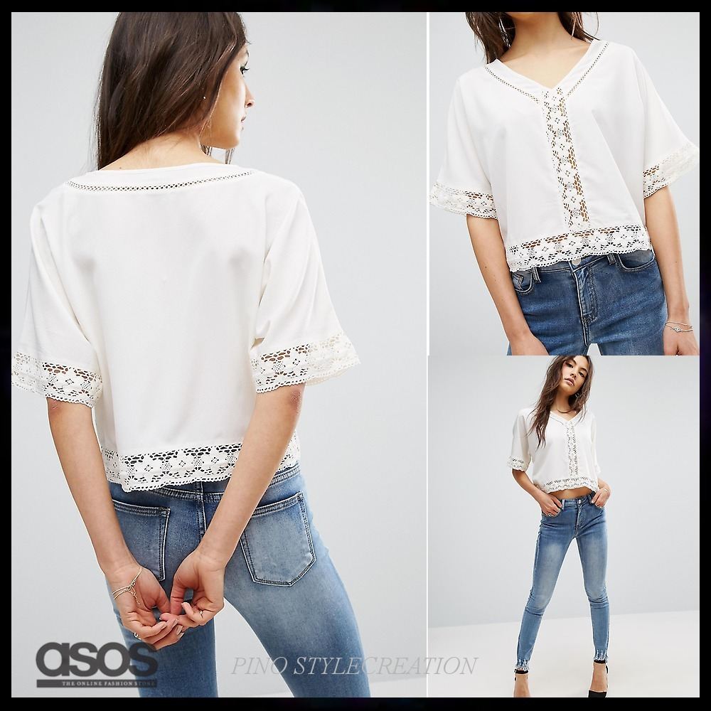 ★送関込★ASOS Batwing Top with Cotton Lace Trim