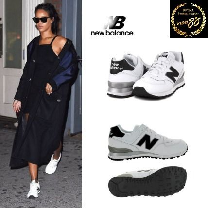 Rihanna New Balance 574 leather sneakers white