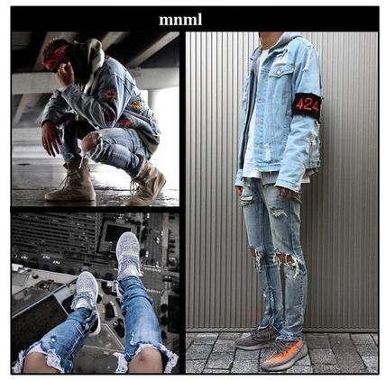 NL M1 Denim damaged ankle zip jeans