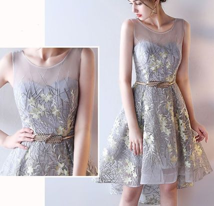 Embroidered see-through tail design dress