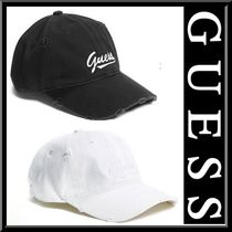 【Guess】定番カラー☆ダメージ加工 キャップ ハット 黒 白