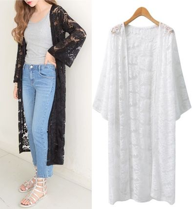 Floral lace embroidery gowns long cardigan all