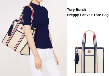 Tory Burch EMBROIDERED-T TOTE キャンバス地 宅急便・関税込