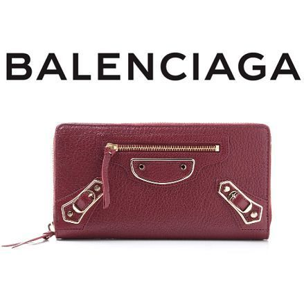 Balenciaga☆METALLIC EDGE ラウンドzip長財布 ROUGE LIE DE VIN