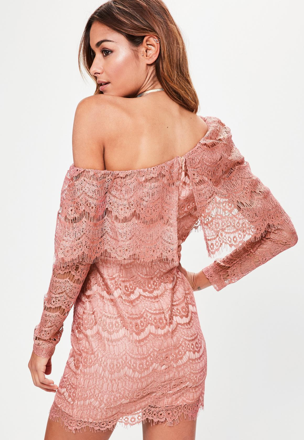 【海外限定】Missguided人気ドレス☆Pink Lace One Shoulder Lon