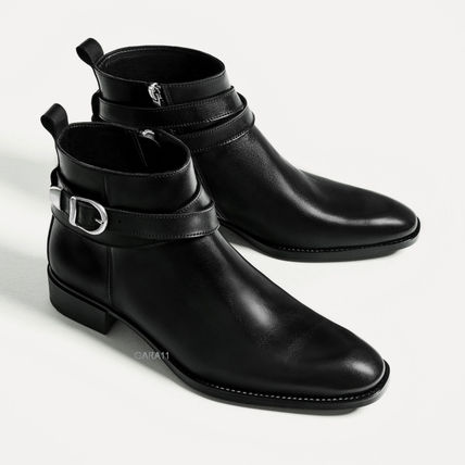 -ZARA-BLACK LEATHER BUCKLED ANKLE BOOTS