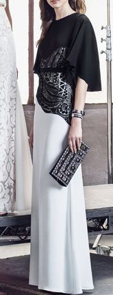 BCBG MAXAZRIA Maxi BLACK &WHITE embroidered lace dress