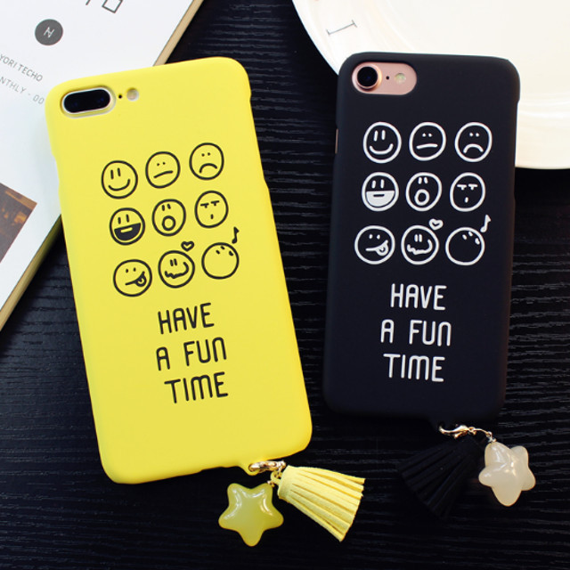 iPhone ケース HAVE A FUN TIME タッセル 星 チャーム 絵文字