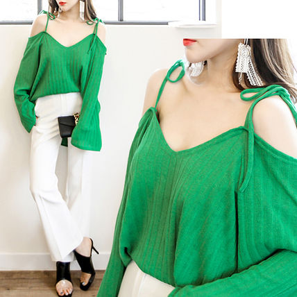 Wide sleeve off shoulder shirts _ 1168