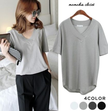 V neck round hem cotton loose shirt