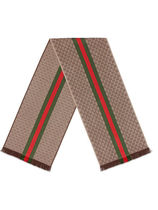 GUCCI(グッチ) マフラー・ストール GUCCI(グッチ) GG jacquard knit scarf with Web and fringe