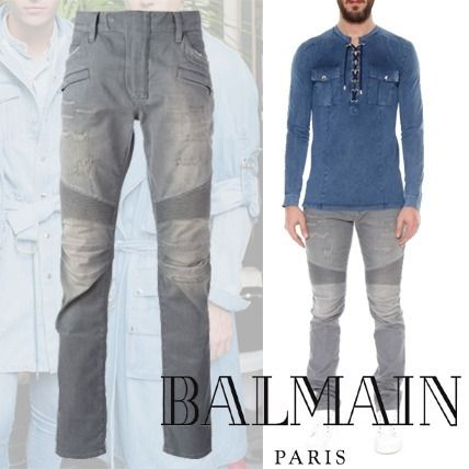 BALMAN Slim-Fit Destroyed Cotton Denim