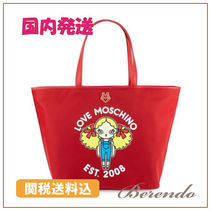 Moschino(モスキーノ ) トートバッグ 国内発送◆LOVE Moschino Printed Tote Bag トートバッグ 赤