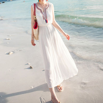 "EMS Tassel with ""stitch"" long dress"