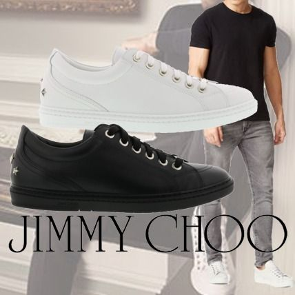 Jimmy Choo Cash Low-Top Leather Sneaker White/Black