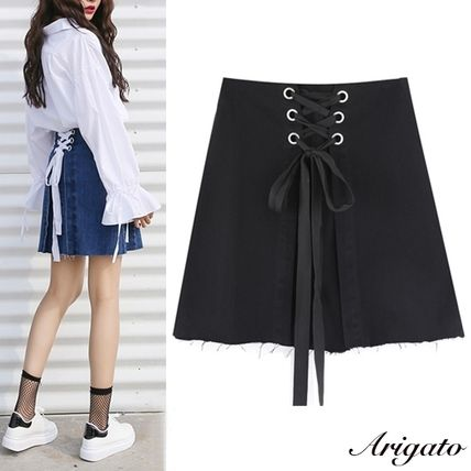 Casual corset style back lace-up denim skirt