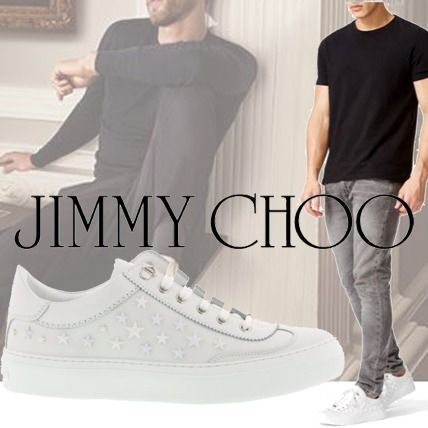 Jimmy Choo Ace Star Syuds White Leather Low-Top Sneakers