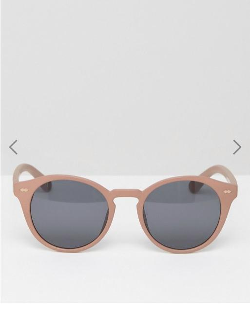 ASOS Round Sunglasses In Dusky Pink