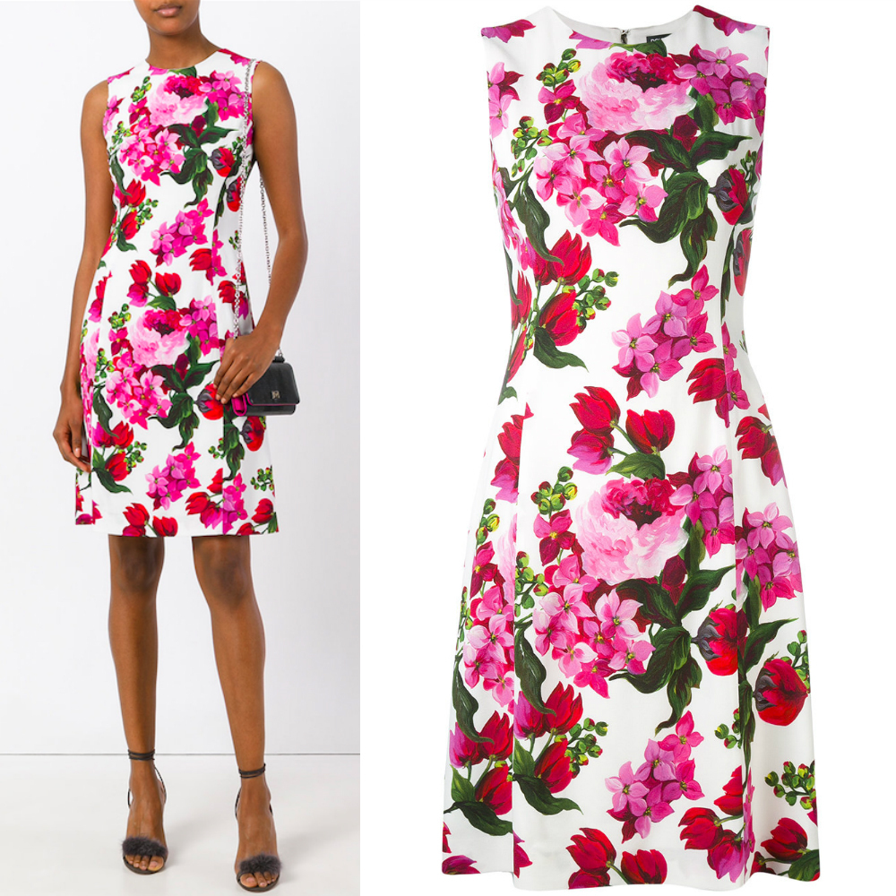 17SS DG1146 FLORAL PRINTED SLEEVELESS DRESS