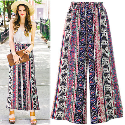 Ethnic pattern wide pants adult cute chiffon