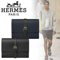 HERMES ◇ Etriviere II Folder Jungle レザークラッチ / 2色