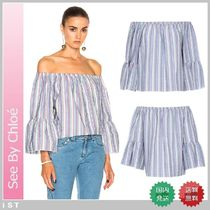 SEE BY CHLOE striped blouse シーバイクロエ オフショルダー