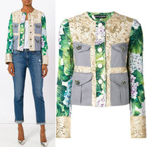 17-18AW DG1148 CROPPED BROCADE JACKET WITH ORTENSIA BUTTON